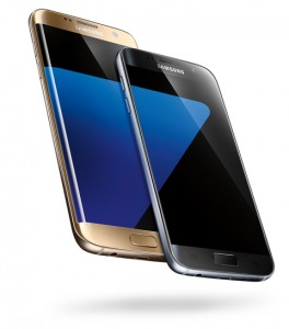The Samsung Galaxy S7 and Galaxy S7 edge mobile devices.