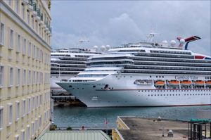 The 110,000-ton Carnival Glory docks at Pier 4 in Old San Juan, not far from where the Florida-Caribbean Cruise Association will hold its annual conference and trade show Sept. 26-30. (Credit: Larry Luxner)