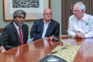 From left: Paul Sundaram, director of the UPR-Mayagüez School of Mechanical Engineering; John Delametter, president of Infotech Aerospace; and John Fernández Van Cleve, dean of the UPR-Mayagüez, offer details of the new partnership and initiative.