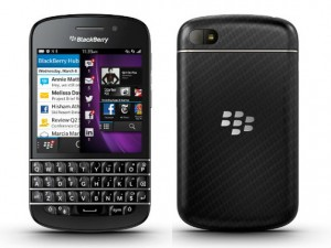 The BlackBerry Q10 features a full QWERTY keyboard.
