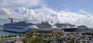 The Old San Juan piers were bustling with activity Wednesday, with the arrival of five cruise ships.