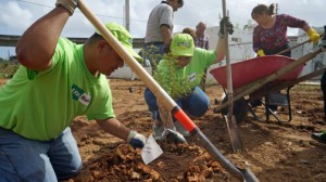 A group of FirstBank volunteers and area residents planted the trees for the Río Piedras arboretum.
