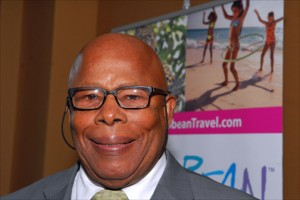Anguilla's chief minister, Hubert Hughes, speaks June 4 at Caribbean Week in New York.